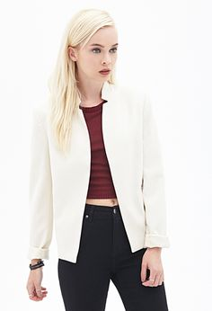 Flat Collar Blazer | FOREVER21 - 2000060010 notched flat collar and zippered front pockets