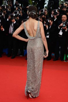 It's lovely from the back, too ...  Freida Pinto in Sanchita at Cannes