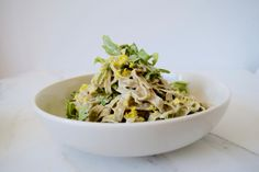 For a bright and summery dish, try this fettuccine with lemon cream sauce. The dairy-free sauce is made from tahini and a generous amount of lemon for a super fresh flavor. Add in peppery arugula for a little kick. Bean pastas are much healthier than wheat pastas. Not only are they gluten-free, but they are packed with so much fiber...