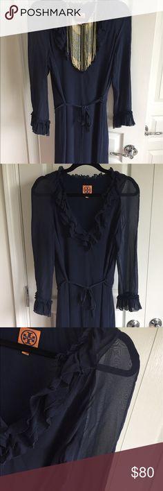 Tory Burch Dress EUC Navy blue Tory Burch dress in EUC.  Sheer sleeves. Perfect dress to go from work wear to night wear. Tory Burch Dresses