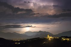 Mountain Lightning - Very rare clear view on storm above Julian Alps made it possible to catch the most fascinating lightning in mountains (Dolomites - Italy) for me. The church in front is in Šmartno (Slovenia). Šmartno is situated in the geographical centre of Brda. Gradnik, the local poet, compares the village with the eagle´s nest resting on a place, where the view stretches from the Nanos hill in the east to the Carnija Alps in the northwest, and from the Furlanija to the Adriatic…