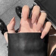 Apr 2020 - Europe and the United State Beam ballerina fake press on nails Long Round Head Khaki matt fake nails with glue,long coffin nail, stiletto by UStiaracrown on Etsy Simple Acrylic Nails, Fall Acrylic Nails, Simple Nails, Classy Gel Nails, Black Matte Acrylic Nails, Matte Almond Nails, Fall Almond Nails, Natural Looking Acrylic Nails, Rounded Acrylic Nails
