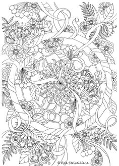 Coloring Page for Adults Wheel Mandala by Egle Stripeikiene. Size…