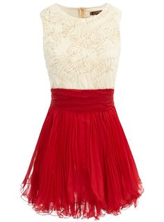 cream/red frill dress