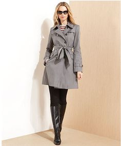A classic gray trench coat never goes out of style!
