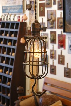 Vintage Industrial Cage Trouble Light Pendants. American, early 20th century. http://www.1stdibs.com/furniture_item_detail.php?id=545430