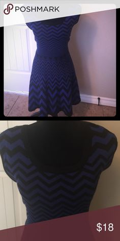 Blue and Black Chevron Dress Blue and Black flattering Chevron Sweater dress. Fits right past the knees. Candie's Dresses Midi