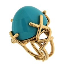Oval Turquoise Cabochon gold Ring   From a unique collection of vintage dome rings at https://www.1stdibs.com/jewelry/rings/dome-rings/