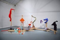 Samantha Donnelly's practice is primarily sculptural. She has a materials-led approach to making, underpinned by references to art history and popular culture - specifically photography, TV, film and advertisements. Her work is made through questioning, rephrasing and reworking a range of sculptural matter, mass-produced household wares, imported fashion bargains and second-hand finds in the studio over a period of time.