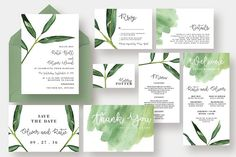 Watercolor Leaf Wedding Suite by Knotted Design on Creative .- Watercolor Leaf Wedding Suite by Knotted Design on Creative Market Watercolor Leaf Wedding Suite by Knotted Design on Creative Market - Watercolor Wedding Invitations, Wedding Invitation Suite, Wedding Stationery, Wedding Templates, Wedding Invitation Templates, Invitation Design, Watercolor Leaves, Watercolour, Corporate Identity