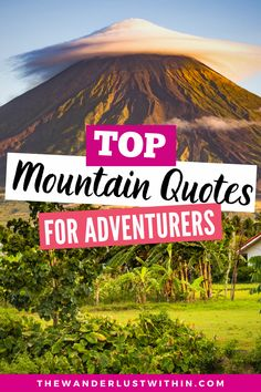 Looking for the best mountain quotes to motivate you? Check out this ultimate list of quotes about mountains to inspire the adventurer in you and help you achieve new heights! #mountains #mountainquotes  | climbing mountain quotes inspirational | hiking mountain quotes adventure | mountain quotes instagram | mountain quotes short | mountain quotes nature | quotes about mountains | mountain captions instagram | mountain captions funny | cute mountain captions nature | mountain captions short Funny Travel Quotes, Solo Travel Quotes, Travel Advice, Travel Ideas, Travel Tips, Travel Destinations, Adventure Quotes, Adventure Travel, Mountain Quotes