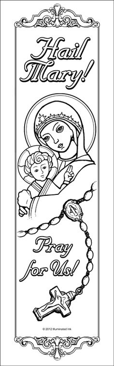 catholic coloring pages hail mary - photo#3