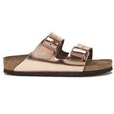 Birkenstock Women's Arizona Slim Fit Double Strap Leather Sandals - Metallic Copper