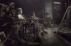treasure in the attic. abandoned mansion.