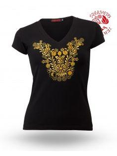 Szervető-jászsági V póló - fekete-arany V Neck, Tops, Women, Fashion, Moda, Fashion Styles, Fashion Illustrations, Woman