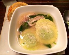 Easy Peasy Chicken Soup AKA Simple Brothy Goodness _ with Spinach and Cheese Ravioli.