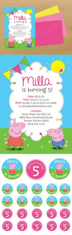 Peppa Pig Kids Party Invitation + Stickers by Danielle Comstock, via Behance