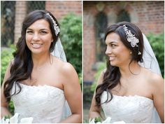 beautiful bride with sideswept hair & sparkly hair accessory