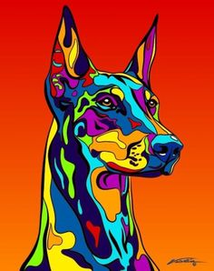 Multi-Color Doberman Pinscher Dog Breed Matted Prints & Canvas Giclées
