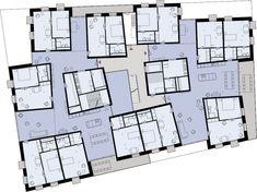 Satelliten vergleichbar, verteilen sich Zwei- bzw. Einzimmerwohnungen mit Bad und Kochnische auf einer Etage. Die stark gegliederten Gemeinschaftsflächen bilden Wege und Plätze und umschließen die …