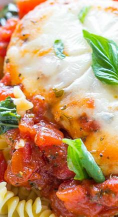 Tomato, Basil, and Mozzarella Chicken ~ A healthier twist on chicken parmesan because there's NO breaded chicken... Easy, ready in 20 minutes, and loaded with FLAVOR!