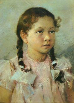 houzz oil potriats of children | OIL PAINTING REPRODUCTION Serov, Vladimir Aleksandrovich