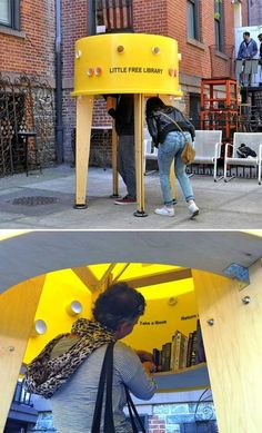 Little Free Library. Design by Stereotank. Pen World Voices Festival New York. — The Architectural League of New York partnered with Pen World Voices Festival and asked ten design agencies to come up with new types of Little Free Libraries. Little Free Libraries, Little Library, Free Library, Urban Furniture, Street Furniture, Concrete Furniture, Furniture Buyers, Furniture Online, Lending Library