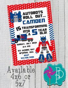 Transformer Birthday 2 Invitation Printable by PolkaDotPinwheel, $10.00