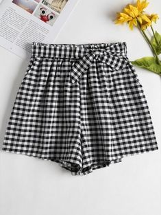 192aa0560 High Waisted Gingham Paper Bag Shorts Longer Legs