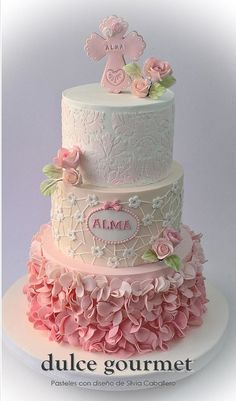 Baptism Cake 3 tier cake with ombre petals, lace pattern and stenciled top tier.