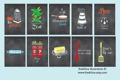 Chalkboard Inspired Kitchen Art Set, Funny Kitchen Signs, Set of TEN 4x6 art prints