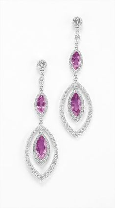 A Pair of Pink Sapphire and Diamond Ear Pendents