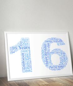 Add your own words to this number 16 word art print, to create a very special personalised gift for someone's birthday. Shaped in the number this word Birthday Surprise Boyfriend, Birthday Gifts For Girlfriend, Birthday Surprises, 16th Birthday Gifts, Birthday Gifts For Teens, Teen Birthday, Personalised Prints, Personalized Gifts, Birthday Words
