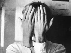 """Duane Michals, Andy Warhol. 1958. Not reproduced in Camera Lucida, but Barthes writes in part, """"Warhol hides nothing; he offers his hands to read, quite openly; and the punctum is not the gesture but the slightly repellent substance of those spatulate nails, at once soft and hard-edged"""" (45)."""