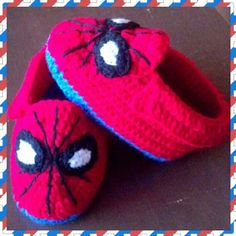 Spiderman slipper booties - crochet Only at Facebook.com/Anas.KC.Creations