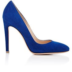 Gianvito Rossi Women's Roma Round-Toe Pumps ($269) ❤ liked on Polyvore featuring shoes, pumps, heels, sapatos, scarpe, colorless, clear heel shoes, blue high heel shoes, blue high heel pumps and high heel shoes