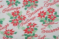 Vintage Christmas Wrapping Paper ~ Season's Greetings Poinsettia's