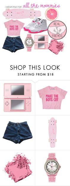 """I Wear Pink for"" by april-diamond ❤ liked on Polyvore featuring Nintendo, American Apparel, Bobbi Brown Cosmetics and IWearPinkFor"
