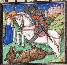 St. George and the Dragon. Book of Hours, c. 1420-30, Paris. UBH Cod.Sal.IXe, fol. 232r. Heidelberg Univ. Library