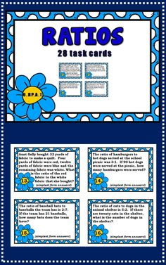 28 task cards common core aligned to 6.RP.A.1  Ratios  $2.50
