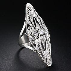 Interesting, but way too big. I Extra-Long Art Deco Diamond Dinner Ring Art Deco Bar, Art Deco Diamond, Jewellery Box, Silver Rings, Brooch, Jewels, Engagement Rings, Dinner, Antiques