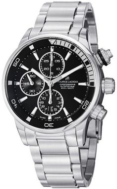 Men watches : Maurice Lacroix Men's PT6008-SS002330 Pontos Black Chronograph Dial Watch Top men watches