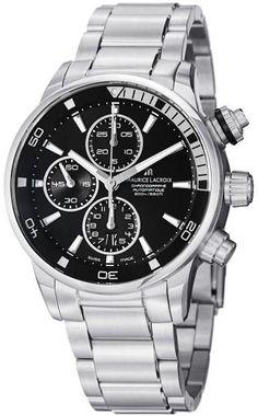 Men watches : Maurice Lacroix Men's PT6008-SS002330 Pontos Black Chronograph Dial Watch Top men watches