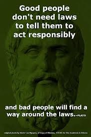 Good people don't need laws to tell them to act responsibly and bad people will find a way around the laws. - Plato So true! Quotable Quotes, Wisdom Quotes, Quotes To Live By, Me Quotes, Plato Quotes, Great Quotes, Inspirational Quotes, Smart Quotes, Motivation