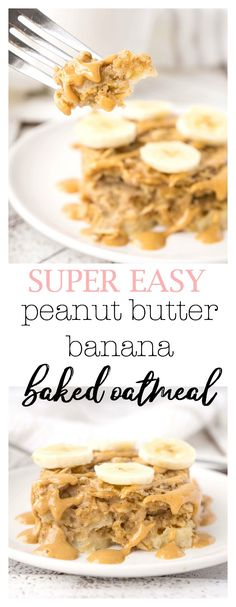 Breakfast doesn't get much easier than this Peanut Butter Banana Baked Oatmeal! Whip up a batch and store it in the fridge or freezer for a quick and easy breakfast throughout the week! Peanut Butter Roll, Gluten Free Peanut Butter, Peanut Butter Recipes, Peanut Butter Banana, Banana Milk, Oatmeal Recipes, Snack Recipes, Dessert Recipes, Cooking Recipes