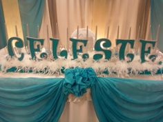Name display for Winter Wonderland Sweet Sixteen