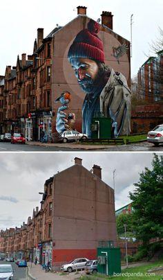 15 incredible before & after photos of places that have been stunningly embellished … – Straßenkunst, Street Art, Graffiti, Mural … 3d Street Art, Murals Street Art, Urban Street Art, Best Street Art, Amazing Street Art, Street Art Graffiti, Street Artists, Amazing Art, Graffiti Artwork