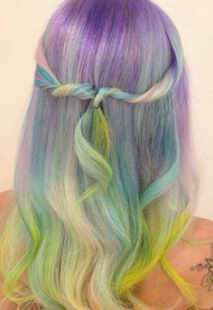 Purple pastel rainbow hair @hairbymisskellyo