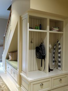 Under-Stair Storage Space Solutions: Shelves and Drawers Under Stairs . Too bad I have basement stairs under my stairs in this house! Style At Home, Small Space Living, Small Spaces, Basement Inspiration, Room Inspiration, Design Case, Basement Remodeling, Remodeling Ideas, Basement Flooring