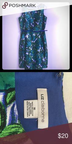Liz Claiborne 16 blue green tank sleeveless dress Excellent condition Zippered back Belted Top is lined Liz Claiborne Dresses Midi